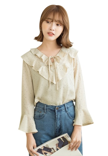 Tokichoi white Polka Dot Peter Pan Blouse B942FAAF7A2C09GS_1