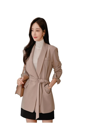 Crystal Korea Fashion beige Autumn And Winter New Temperament Lapel Long Sleeve Suit Jacket 135FAAA90377C7GS_1