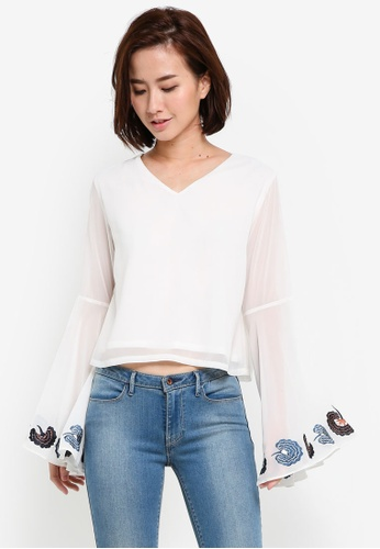 ZALORA white Embroidered Sleeve Top C6A9FAA7D82735GS_1