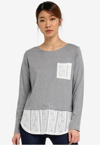 UniqTee grey Long Sleeve Lace Hem Top UN097AA0SHDGMY_1