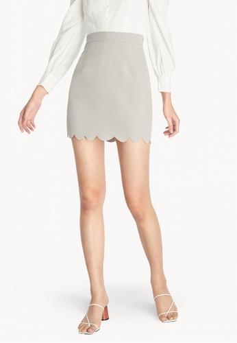 Pomelo grey Mini Scallop High Waist Skirt - Light Grey D1A81AAA9896C0GS_1
