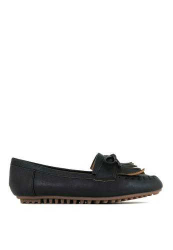 Carlo Rino black Black Stitch Design Vamp Loafers with Ribbon 8FBACSHD4AB69EGS_1