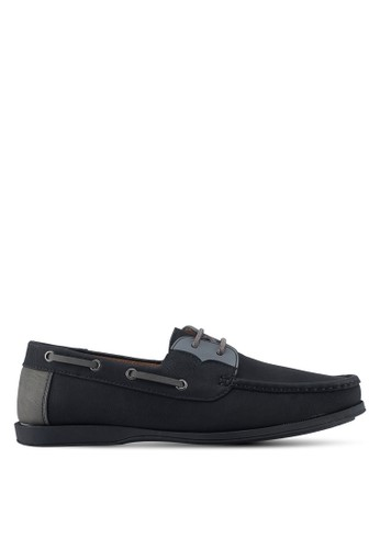 ZALORA black and multi and grey Faux Leather Contrast Colour Boat Shoes 858A7SHE8C91A8GS_1