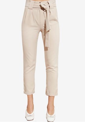 Trendyol beige High Waist Tie Sash Detail Trousers D4EC4AA64B2EF6GS_1