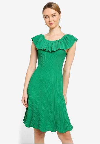 Saturday Club green Ruffled Knit Dress With Flouncy Hem 1D245AA63CF25AGS_1