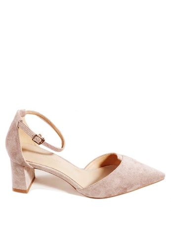 Twenty Eight Shoes 米褐色 尖頭絨面中踭鞋197-1 54BD8SH8C6B147GS_1