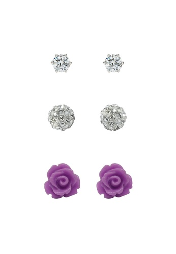 Fur Nyce purple Purple Dream Rose Garden Stud Earings Set FU779AC29NOSMY_1
