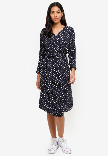 Hopeshow navy Long Sleeve V-Neck Spotted Dress B5A12AA3D1ADCDGS_1