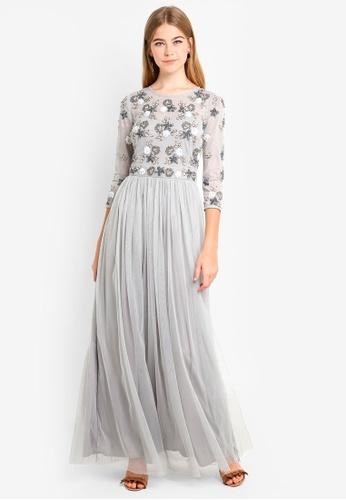 Little Mistress grey Grey Embellished Maxi Dress ED213AA209D845GS_1