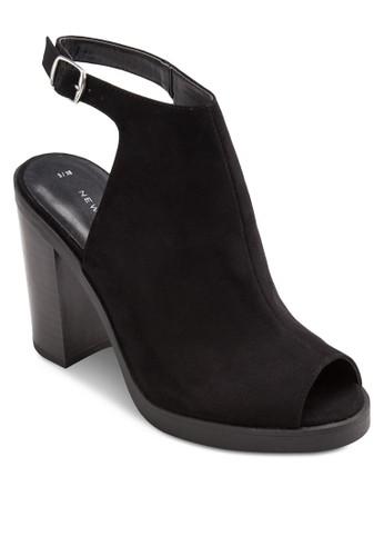 露趾繞踝麂皮粗跟鞋, 女鞋, esprit hong kong 分店鞋