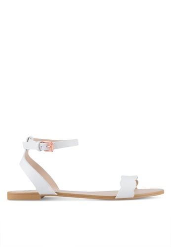 Velvet white Scalloped Flat Sandals B7755SHFDE3D24GS_1