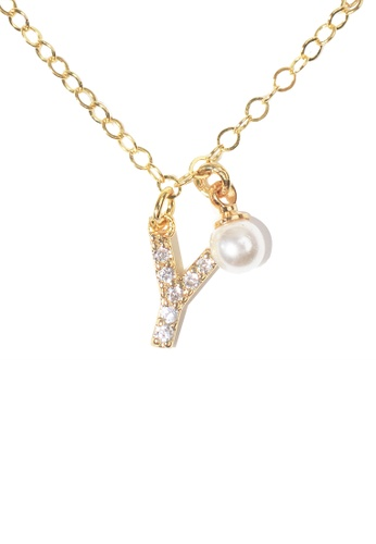 PSYNDROME gold Personalised Initial Diamond Letter Alphabet with Pearl Necklace - Y E8942AC5F873E0GS_1