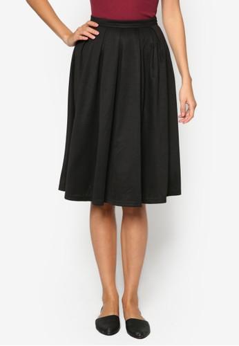 基本款褶藝及膝短裙, 服飾,zalora 泳衣 及膝裙