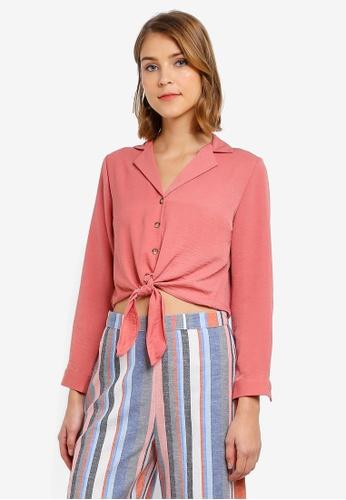 970ed893b6c79 Buy Miss Selfridge Petite Pink Tie Front Shirt Online on ZALORA ...