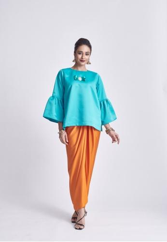 Klambi KL orange and blue OMNA TEAL BLUE SET F96B9AA2B84D21GS_1