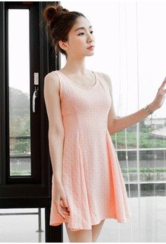 [IMPORTED] Geo Textured Fit & Flare Dress - Pink