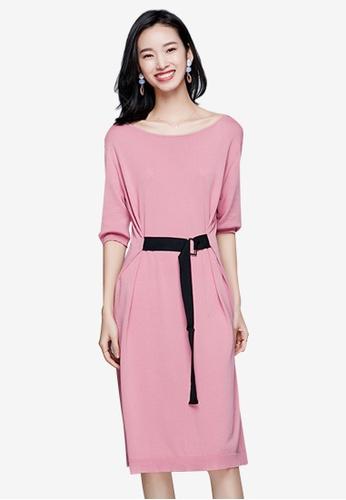 Sunnydaysweety pink Temperament New Belted Knit One Piece Dress E31B1AA393CF61GS_1