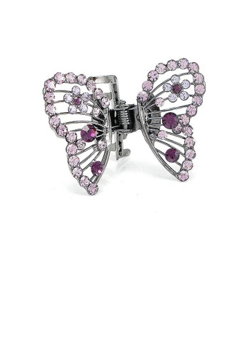 Glamorousky purple Butterfly Clamp in Purple Austrian Element Crystals 6CD7CAC224755FGS_1