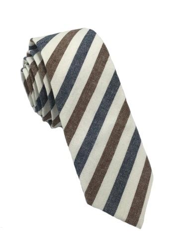 Splice Cufflinks Passe Series Blue Brown & White Stripes Cotton Tie SP744AC30LORSG_1