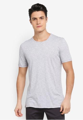 Sisley 藍色 橫條紋短袖T恤 1DD19AA20DB694GS_1
