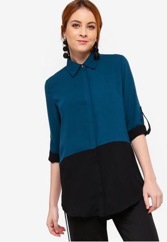 Zalia green Colour Block Shirt D2E54AA513E5F1GS_1
