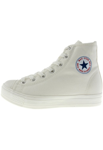 Maxstar 白色 新款韩国鞋C1-7H時尚帆布布混合女白色 US Women Size MA345SH52HCTTW_1