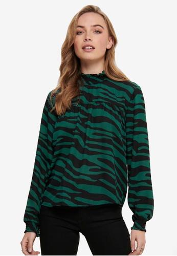 JACQUELINE DE YONG green Printed Long Sleeves Smock Blouse 9353DAAEB6DA9CGS_1