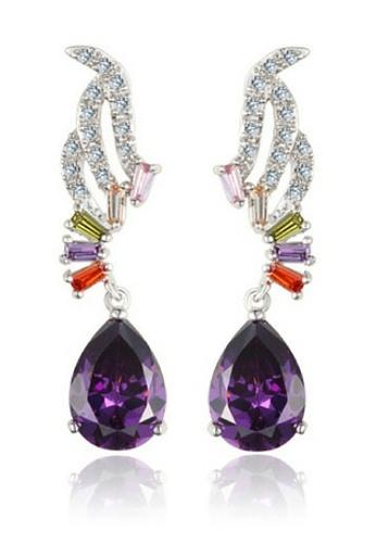 Vivere Rosse purple Amethyst Tear Drop Dangle Earrings VI014AC06ZVHMY_1