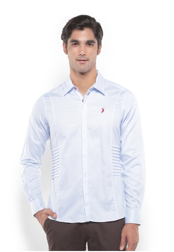 POLO HAUS blue Polo Haus - Men Woven Shirt (Blue) PO783AA83YRKMY_1