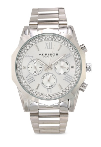 Akribos XXIV silver Date Stainless Steel Watch DBE6AACA2C5A82GS_1