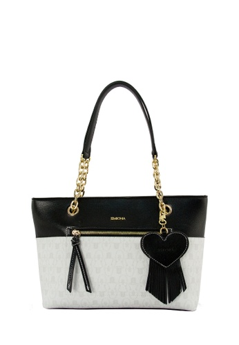 SEMBONIA white SEMBONIA Coated Canvas Trimmed Synthetic Leather Tote Bag (White) SE598AC0RUTXMY_1
