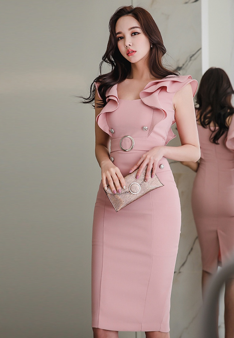 Piece Dress Pink Ruffle UA061909 Sunnydaysweety 2018 One New Pink qwfx46FvO