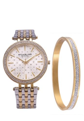 Stuhrling Original 銀色 and 金色 3962 Quartz Link Bracelet Watch Set 475D1AC9D17779GS_1
