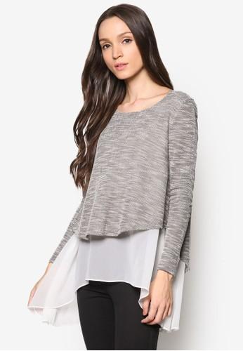 雪紡拼接混色長袖衫, esprit home 台灣服飾, 女性服飾