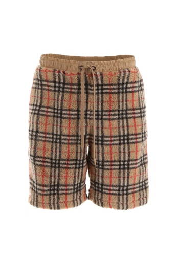 Burberry brown Burberry Vintage Check Faux Shearling Drawcord Shorts in Archive Beige 17711AAE1495BFGS_1