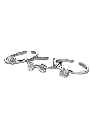 Her Jewellery silver Tri Clover Ring (White Gold) - Made with Premium grade crystals from Austria 5ED0BACA997346GS_1