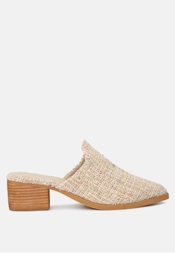 RAG & CO 米褐色 高跟帆布拖鞋 97D58SH837E017GS_1