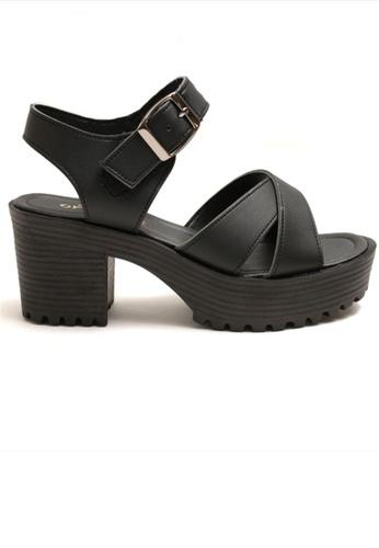 Crystal Korea Fashion black Korean Made Wild Summer Cross Thick Sandals 97383SHD86A80DGS_1