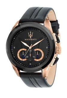Traguardo Black Leather Strap Quartz Chronograph Watch R8871612025