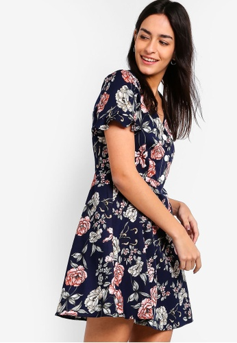 ZALORA multi and navy Button Down Fit And Flare Dress C18E8AAF50A726GS_1