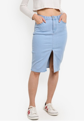 ZALORA blue Denim High Waisted Pencil Skirt With Central Slit 57050ZZCE7B986GS_1