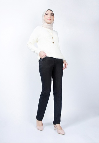 Ladies Jeans black Soft Cotton Trousers 0B46AAAD885F78GS_1