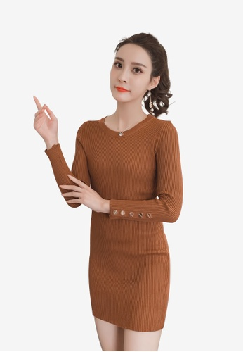 Lara brown Long sleeves Solid Color Round Neckline Knit Dress 2B73AAA8DACAFEGS_1