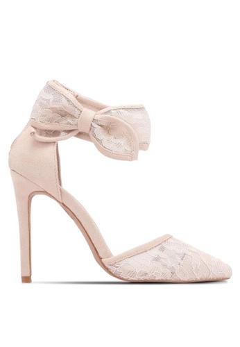 Velvet beige Lace Bow Heels 2790BSHB3AC4B1GS_1