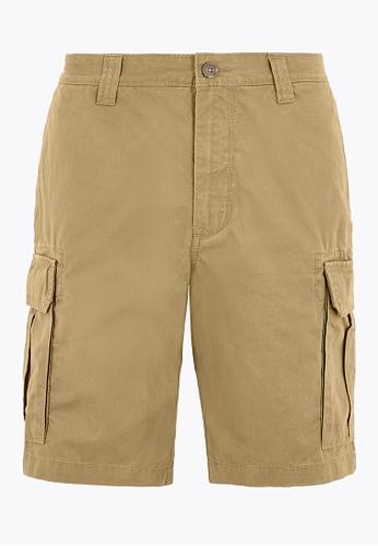 MARKS & SPENCER brown M&S Cotton Cargo Shorts E9268AA61E5B2EGS_1