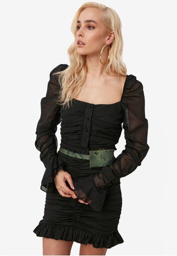 Trendyol black Ruched Button Crop Chiffon Top 62443AA5F7785EGS_1