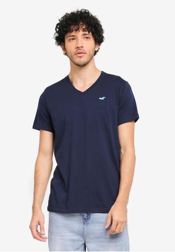 Hollister navy Core Pop Icon V-Neck T-Shirt HO422AA0T1C4MY_1