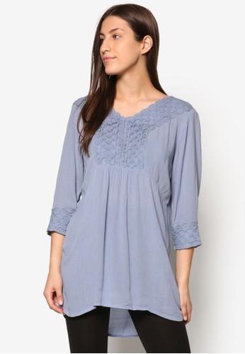 蕾絲邊飾褶esprit 旺角飾七分袖上衣, 服飾, 上衣