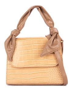 fa8189ef9 Chloe Edit brown and beige Knot Detail Shoulder Bag CF273AC5F6EE10GS_1