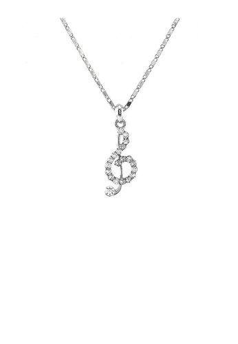 Glamorousky silver Musical Note Pendant with Silver Austrian Element Crystals and Necklace 8CE68AC030B117GS_1